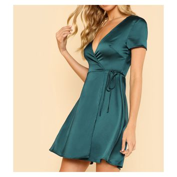 Green Short Sleeve Surplice Wrap Satin Dress