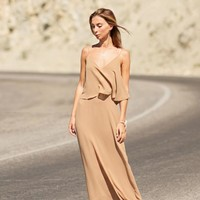 Beige Flowy Cami Maxi Dress | SPREDFASHION