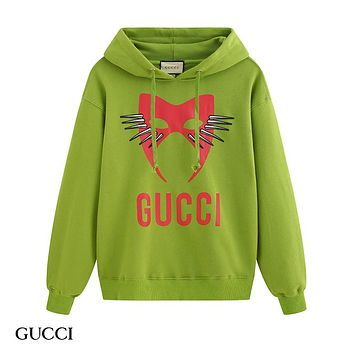 GUCCI hot selling pair casual hoodie with fashionable monogram print Green
