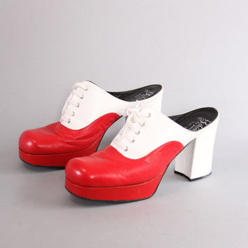 70s FAMOLARE 2-Tone CLOGS / 1970s Lace-Up Red & White Leather PLATFORMS 10