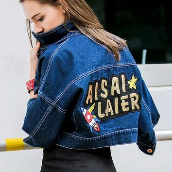 2017 New Spring Women Denim Jacket Fall Ladies Fashion Sequins Letter Jean Short Coat Female Long Sleeve Tops Loose Clothing 2XL