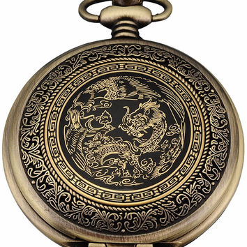 Nostalgic Classic Retro Bronze Copper Dragon Pendant White Dial Men Lady Fob Chain Quartz Leisure Pocket Watch Gift Clock/WPK062