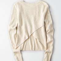 AEO Ribbed Tulip-Back Sweater, Oatmeal Heather