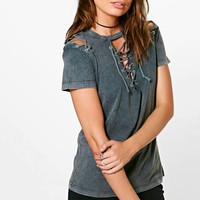 Lilly Washed Lace Up & Sleeve Tee | Boohoo
