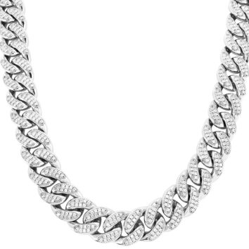 "18mm Iced Out Custom 18-30"" Miami Cuban Choker Chain"