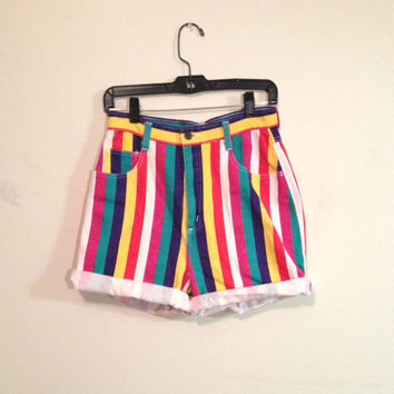 Multicolored Colors Pink Green yellow high waisted Blue pinstripe Rainbow Stripe Denim Print Shorts 90s 80s hotpants pants