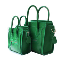 Green Leather Square Luggage Tote Bag-Medium