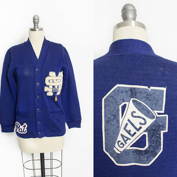 Vintage 1950s Varsity Sweater - Blue Wool Knit Letterman Cardigan 1940s - Extra Small XS