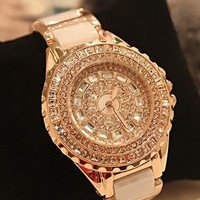 Lady's Fashion Korean Style Gold Crystal Diamond Watch = 1956336644
