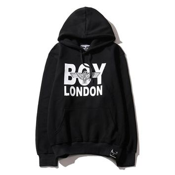 Tide brand autumn and winter new boy london men and women with cashmere hooded sweater wild lovers long-sleeved shirt wave Black