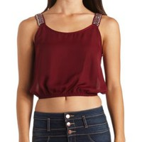 Beaded Strap Chiffon Crop Top by Charlotte Russe