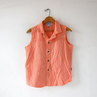 Vintage Cotton Gauze Shirt. Neon Peach Orange Tank Top. Textured Button Up Tank Top. Sleeveless collared shirt.