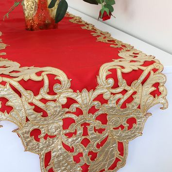 "Holiday Table Runner in Red with Gold Filigree Detail - 72"" Long x 13"" Wide"