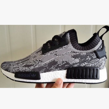 "Women ""Adidas"" NMD Boost Casual Sports Shoes Grey black lace up"