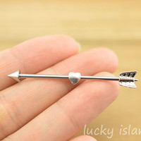 little heart earring,industrial barbell,arrow industrial barbell,friendship ear piercing,earring,bff gift