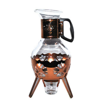 Mid-Century Copper Coffee Carafe & Warmer