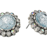 Betsey Johnson Lady Lock Round Crackle Stud Earrings Blue - Zappos.com Free Shipping BOTH Ways