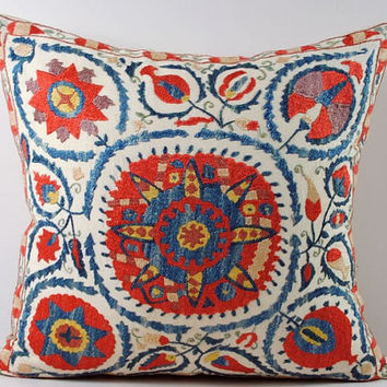 Handmade Suzani Pillow Cover nsp3-13, Suzani Pillow, Uzbek Suzani, Suzani Throw, Boho Pillow, Suzani, Decorative pillows, Accent pillows
