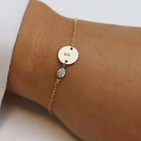 Personalized Initial Bracelet with CZ Charm / Personalized Holiday gift / Bridesmaid gift / Christmas gift / Friendship Bracelet