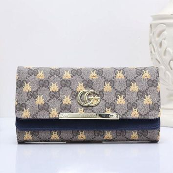 DCCK GUCCI Bee Women Fashion Embroidery Leather Buckle Wallet Purse2