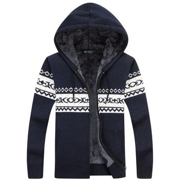 Winter Warm Thick Mens Sweaters /  Casual Fleece Knitted Sweater coat Men Designer Hooded Cardigans Big size to