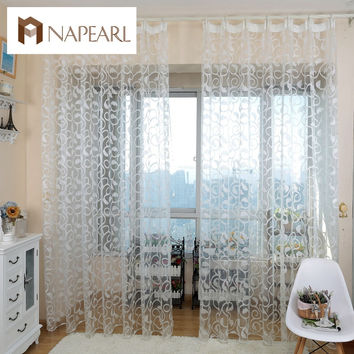 American style jacquard floral design window curtain sheer for bedroom tulle fabrics living room modern design ready made short
