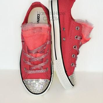 girls converse low top chucks all star in paradise pink with 3 colors of tulle and em