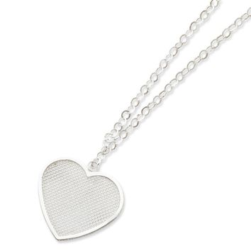 Sterling Silver Fancy Heart Necklace Gauge 18