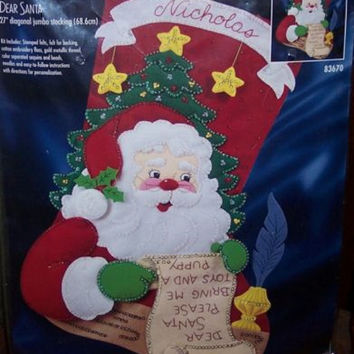 "Bucilla  ""DEAR SANTA"" Felt Crafts Kits For Jumbo Christmas Stocking"