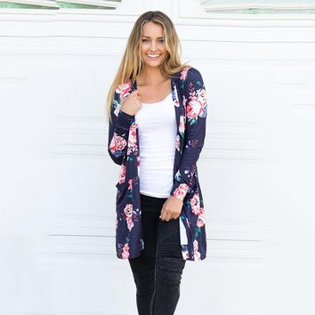 Floral Print Kimono Cardigan Casual Plus Size Long Sleeve Outwear Elegant Loose Autumn Tops Cotton Long Boho Women Blouses **