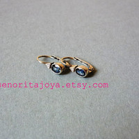 Small White Gold Earrings with Blue Sapphire and by SenoritaJoya