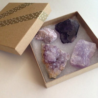 Crystal Gift Set Purple Crystals Crystal Set Crystal Collection Raw Crystal Healing Crystals and Stones Fluorite Amethyst Lepidolite Gift