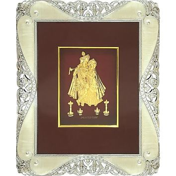 """Gold Leaf Picture in Frames Krishna and Radha 12""""x10"""""""