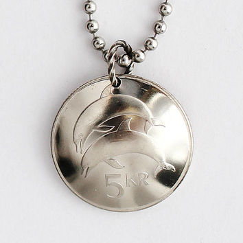 Iceland Coin Necklace Leaping Dolphin Pendant 5 Kronur 1996 Porpoise Necklace Jewelry by Hendywood