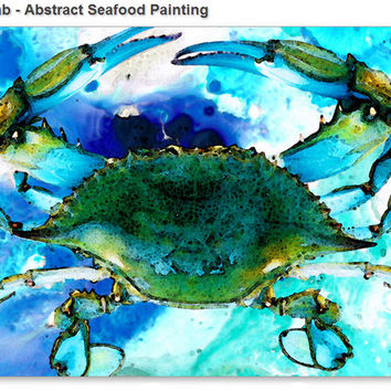 Blue Crab Art Abstract Seafood Painting Sale