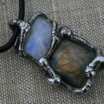 MEN necklace, raw necklace, MOONSTONE men pendant, LABRADORITE goth necklace, healing stones, rustic necklace post apocaliptic, ancient