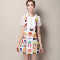 White Lady Print Short-Sleeve Collared Dress