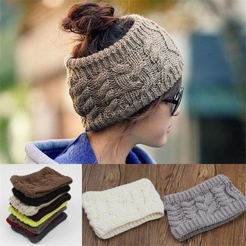 Knitted Women Stretch Twist Headband Turban Girl Hair Band Head Winter Warmer Wrap Headwear 11Colors