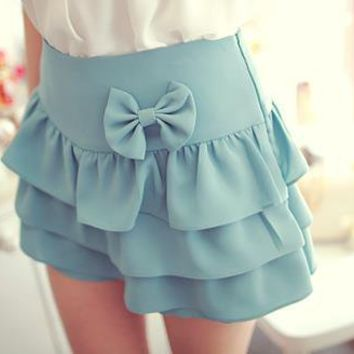Bow Accent Tiered Ruffle Skirt
