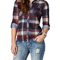 Red & Blue Rolled Sleeve Plaid Shirt