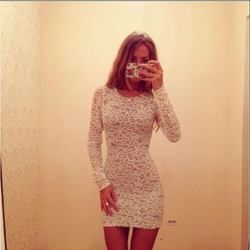 CUPUPX4 Fashion Lace Long Sleeves Bodycon Mini Dress