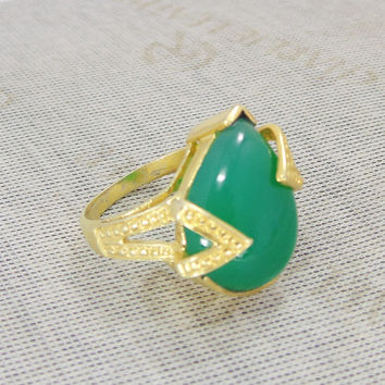 Yellow Gold Plated Ring - Green Onyx Ring - Designer Ring - Gold Fashion Ring - Pear Shape Ring - Prong Set Ring - Statement Ring