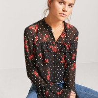 Sheer Cherry Print Shirt