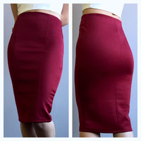 A Sleek Pencil Skirt in Wine