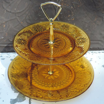 Vintage Two Tier Dessert Stand Tiara Sandwich Cake Serving Plate Indiana Glass Dessert Cookie Server Vintage Tiara Amber Cake Display