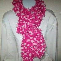 Pink and white polka dot knitted rabric ruffle scarf
