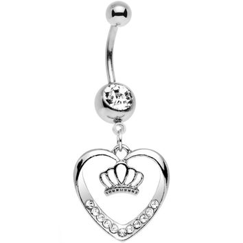 Clear Gem Claddagh Inspired Heart and Crown Dangle Belly Ring