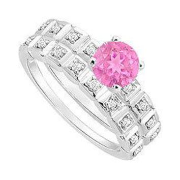 Pink Sapphire and Diamond Engagement Ring with Wedding Band Set : 14K White Gold - 0.50 CT TGW