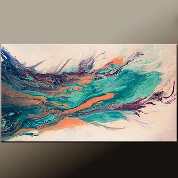 Abstract Canvas Art Painting 36x18 Contemporary Modern Original Wall Artwork by Destiny Womack - dWo - The Journey