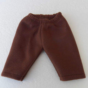 "Bitty Baby Clothes Twin American Girl 15"" Doll Cotton Brown Polar Fleece Sweatpants, Pj Bottoms, Lounge Pants"